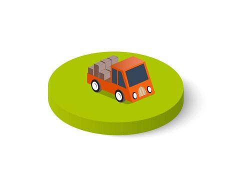 Flat 3d isometric city transport icon. Urban transport