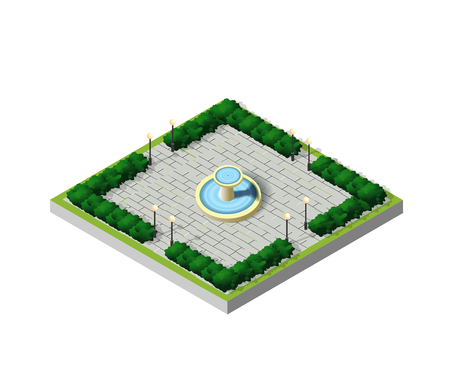 Isometric City Park with Fountain. Architectural garden. Urban infrastructure and town objects