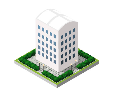 building color: Real Estate isometric building icon for web and mobile includes urban element in a flat style. Modern minimalistic color design