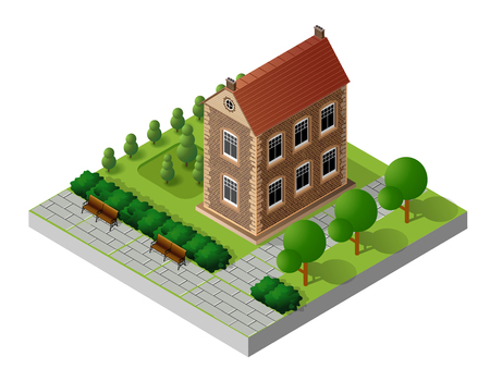 Retro isometric country house municipal infrastructure and city objects Illustration