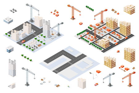 construction plan: Flat 3d architectural set isometric creative planning, web infographic vector. Skyscraper building sketch plan construction place builders crane process. Kit of lorry, business, innovation concept. Illustration