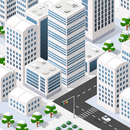 office building: Megapolis 3d isometric three-dimensional view of the city. Collection of houses, skyscrapers, buildings, built and supermarkets with streets and traffic. The stock vector Illustration