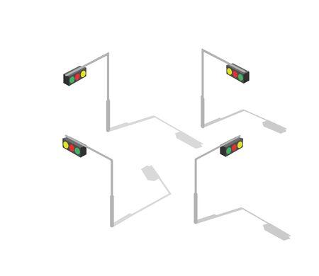 jams: Isometric lamp lights for city traffic jams streets Illustration