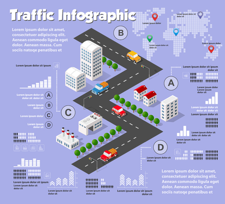 Modern flat isometric city road design elements infographics with text fields. Infrastructure navigation pins, park, transport, buildings, trees. Colorful template for web site, brochure, presentation Illustration