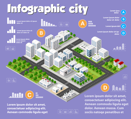 Isometric city map industry infographic set, with transport, architecture, graphic design elements. Urban information concept template with statistical icons, charts, diagrams in flat colors