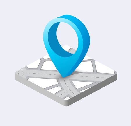 Isometric pin icon on the navigation map for positioning travel and transport