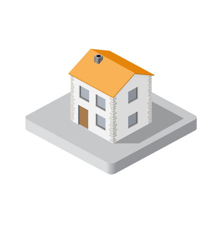 home icon: Isometric 3d private house real estate decorative icons. Architecture agency, property and home. Isolated cartoon illustration of building symbol for web