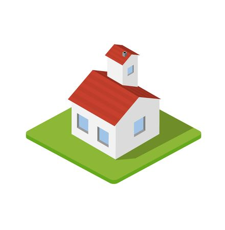 school: Isometric 3d private house real estate decorative icons. Architecture , property and home. Isolated cartoon illustration of bungalow symbol for web