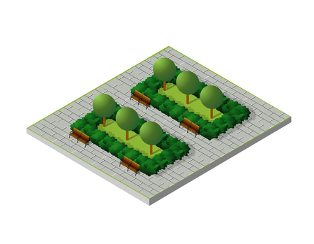 green street: Isometric buildings City Park Furniture. Parkland garden concept with tree, bench and sidewalk in 3d flat tridimensional style. Vector illustration.