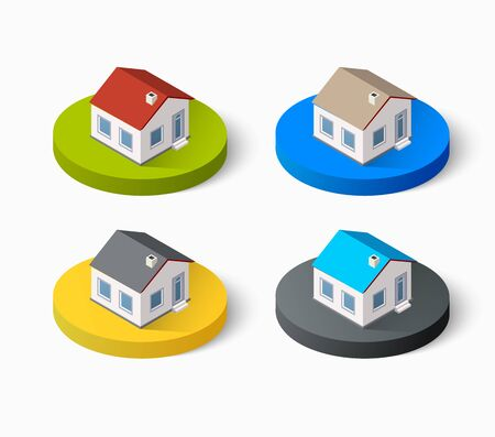 home icon: Real Estate isometric building icon set for web and mobile. Kit includes urban element in a flat style. Modern minimalistic color design Stock Photo