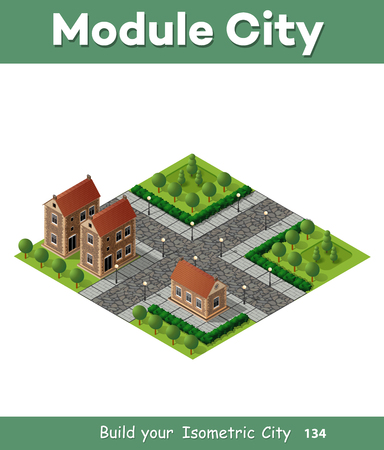 country house: Retro isometric country house municipal infrastructure and city objects Stock Photo