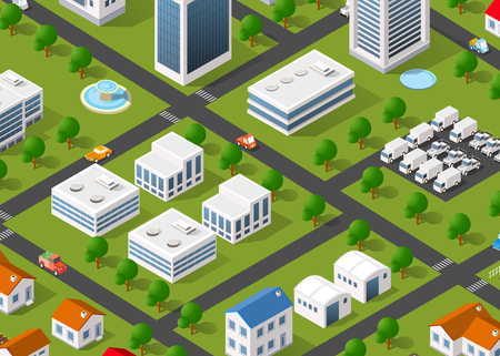 Illustration of the urban landscape. Top view of the city streets, buildings, trees and cars.