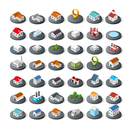 Vecteur isométriques bâtiments de la ville icône 3D pour jeu concept infographique qui comprend les maisons maison, bureaux magasins de magasins, les supermarchés et les éléments industriels Banque d'images - 73576889