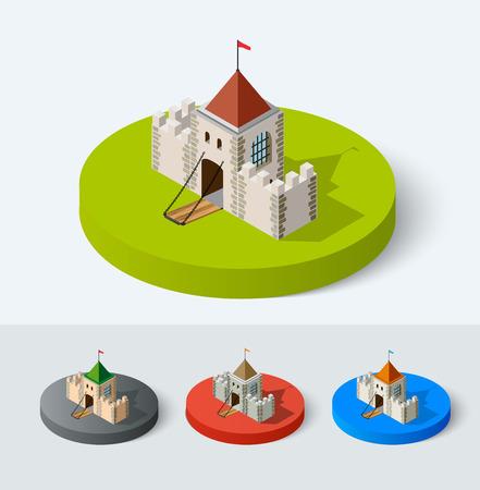 중세 성 아이콘 벡터 집합입니다. 요새 타워 아이소 메트릭 건물 플랫 도시 스타일 도시 요소입니다. 나이트, 왕실, 공주 요새 기호.
