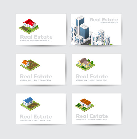 apartment: Set business card template. For real estate agencies, construction companies and creative background, tourist and urban companies Stock Photo
