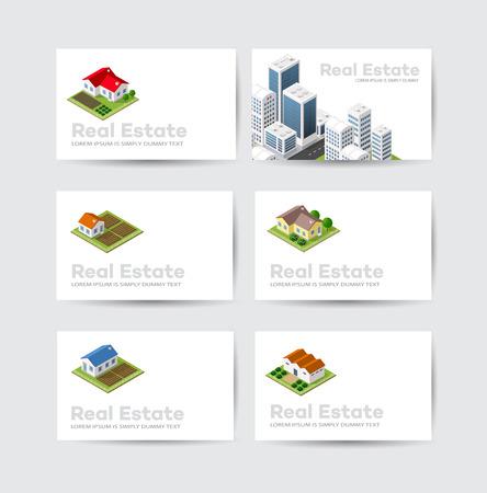 Set Visitenkarte Vorlage. Für Immobilienbüros, Baufirmen und kreative Hintergrund, touristische und städtische Unternehmen