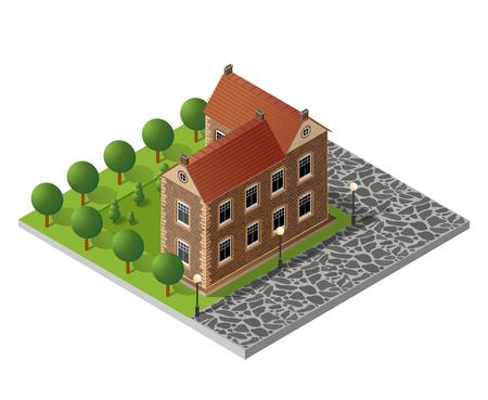 Retro isometric country house