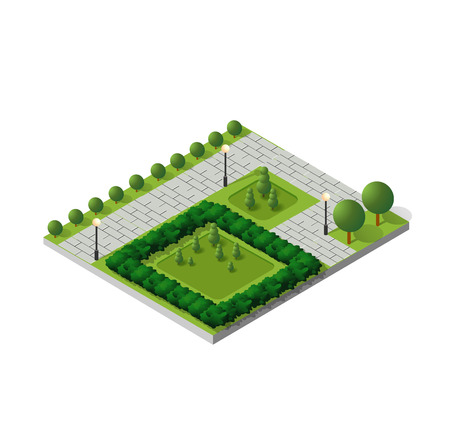 Isometric buildings city park