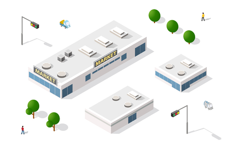 shopping malls: Vector set isometric