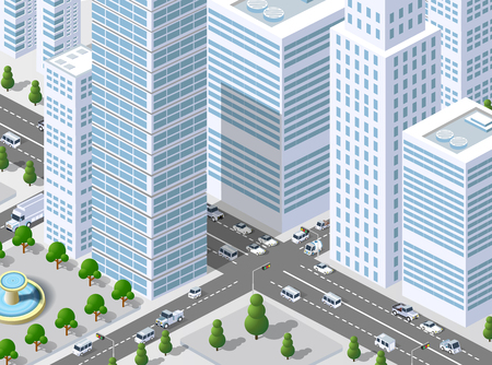 Isometric 3D illustration city