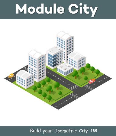 modern house: Isometric 3D illustration city