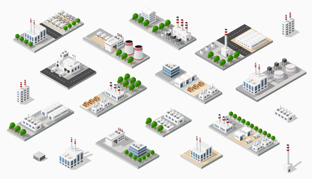 industrial machinery: Isometric plant in 3D dimensiona Illustration