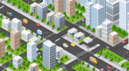 city: Isometric 3D illustration city urban area with a lot of houses and skyscrapers, streets, trees and vehicles