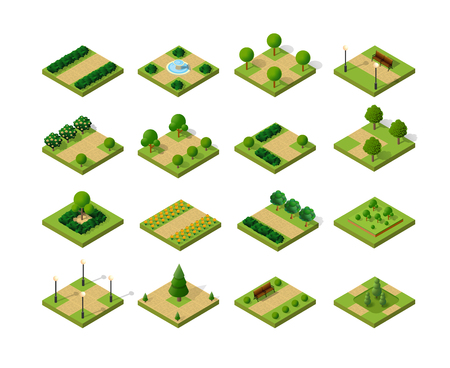 Set of isometric urban parks. City natural ecological landscapes of town infrastructure. Trees lawns garden paths and benches the dimensional kit of items for construction of conceptual project design