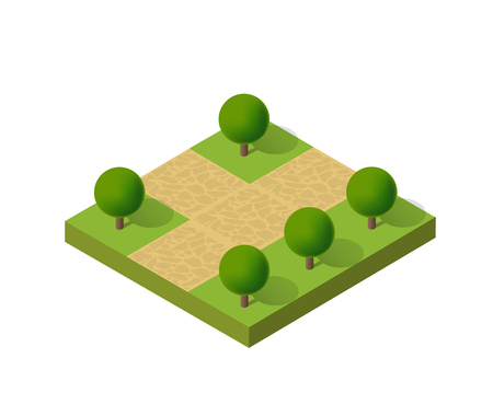 Natural ecological landscape isometric icon. City natural ecological sign of town infrastructure trees, lawns, garden paths and benches