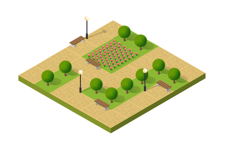 green lantern: Natural ecological landscape isometric garden. City natural ecological park, flowers and benches