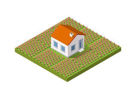 Isometric rural rustic farm with flowers and the beds with a small house of village natural ecological landscapes infrastructure