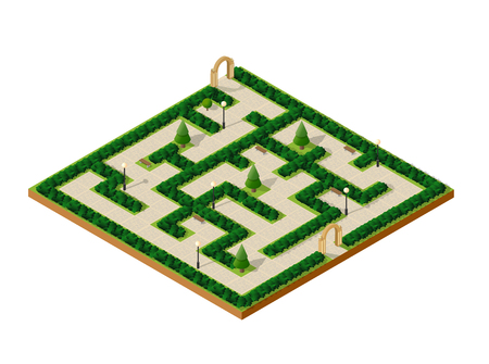 Isometric urban entertainment amusement park maze garden with paths and lawns and trees. City natural ecological landscapes Illustration