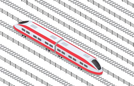 Illustration isometric high-speed train on the tracks in the city quarter Illustration