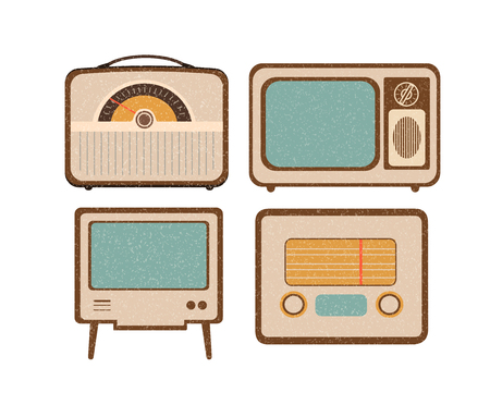 flat screen tv: Set of retro home electronics radio TV in vintage style