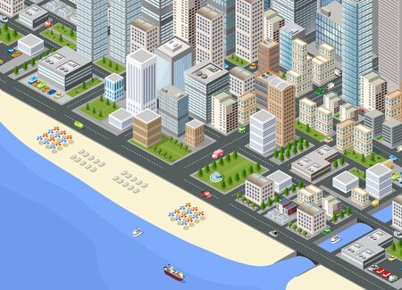 Illustration isometric large megalopolis city district with the streets, the promenade and the beach with umbrellas and sunbeds Illusztráció