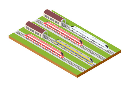 Illustration isometric high-speed train on the tracks in the city block near the hangar warehouse building Illustration