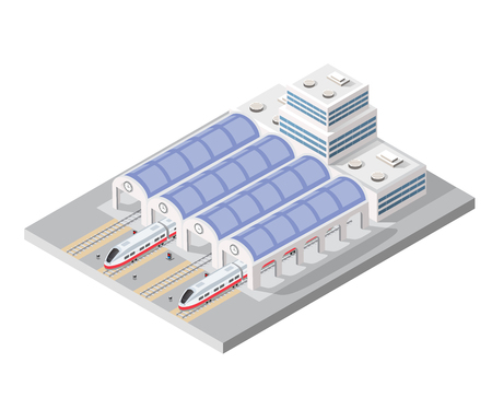 Illustration isometric high-speed train on the tracks in the city block near the station building