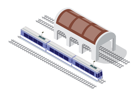 Illustration isometric high-speed train metro on the tracks in the city block near the hangar warehouse building Vettoriali