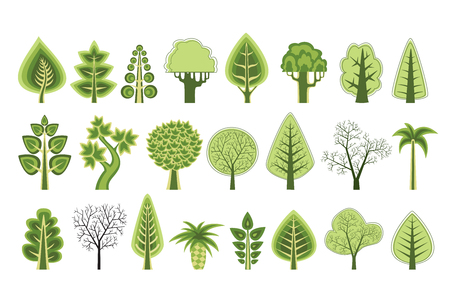 subspecies: A set of flat silhouettes of trees of various natural types and subspecies for design, conceptual presentations and business cards, ecology botany sites