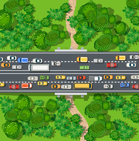 Expressway with a jam cork of cars and automobile in the nature with trees. Top view of city map Illustration