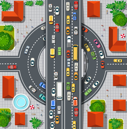 Top view of city map. Crossroads of urban streets with traffic automobile and a lot of cars with traffic jam congestion