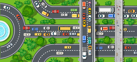 car speed: Top view of city map. Crossroads of urban streets with traffic automobile and a lot of cars with traffic jam congestion