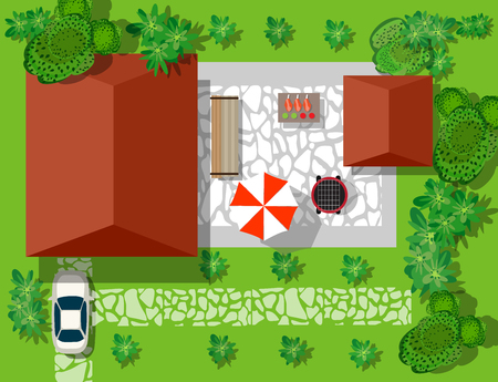 Top view of houses and streets with trees. Vector village and park view from top flat graphic Zdjęcie Seryjne - 76253958