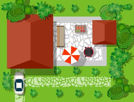Widok z góry z domów i ulic z drzew. Wektor wioski i parku widok z góry płaskiego graficznej Ilustracje wektorowe
