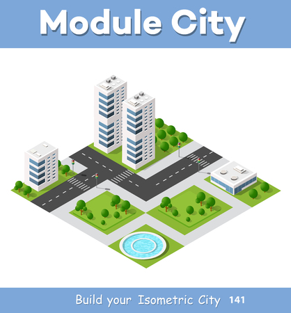 modern house: Isometric area is the landscape of a large city. Element for the construction of a metropolis. Illustration