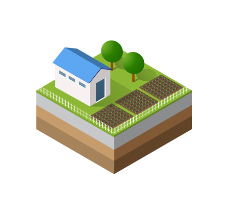 tree isolated: Farm Isometric three-dimensional 3D icon ecological natural agriculture