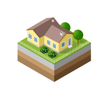 threedimensional: Farm Isometric three-dimensional 3D icon ecological natural agriculture