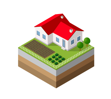Farm Isometric three-dimensional 3D icon ecological natural agriculture