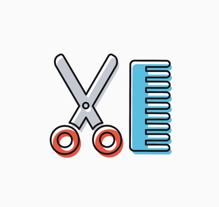 scissors: Linear icon of craft hairdresser scissors and comb Illustration