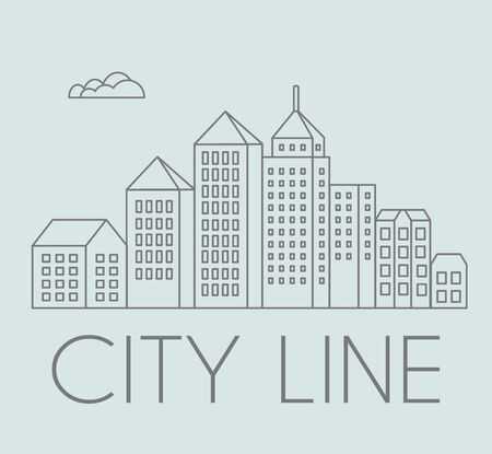 office building: Line linear urban city landscape Illustration